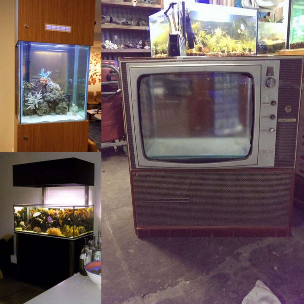 custom aquarium installation in tvs and cabinets